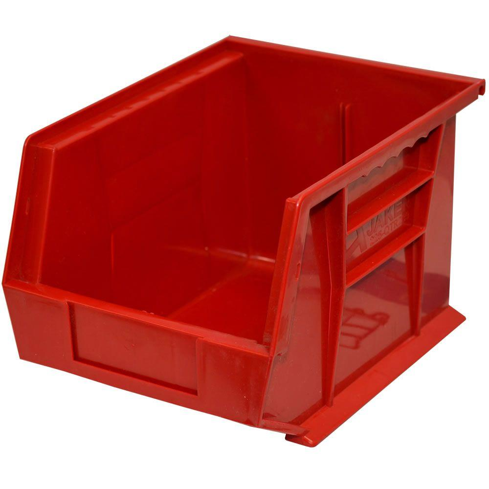 Storage Concepts 11 in. W x 10-3/4 in. D x 5 in. H Stackable Plastic Storage Bin in Red (6-Pack)