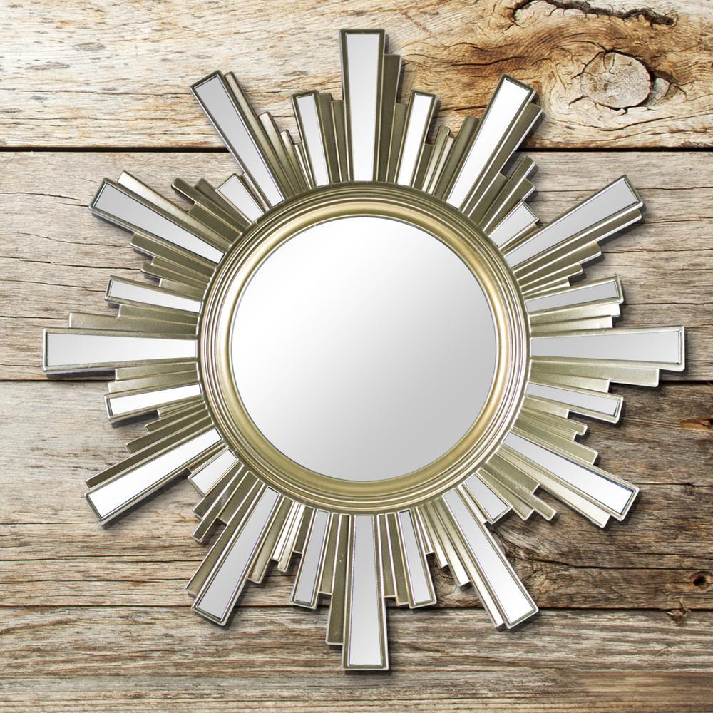 crystal art gallery sunburst gold wall mirror set