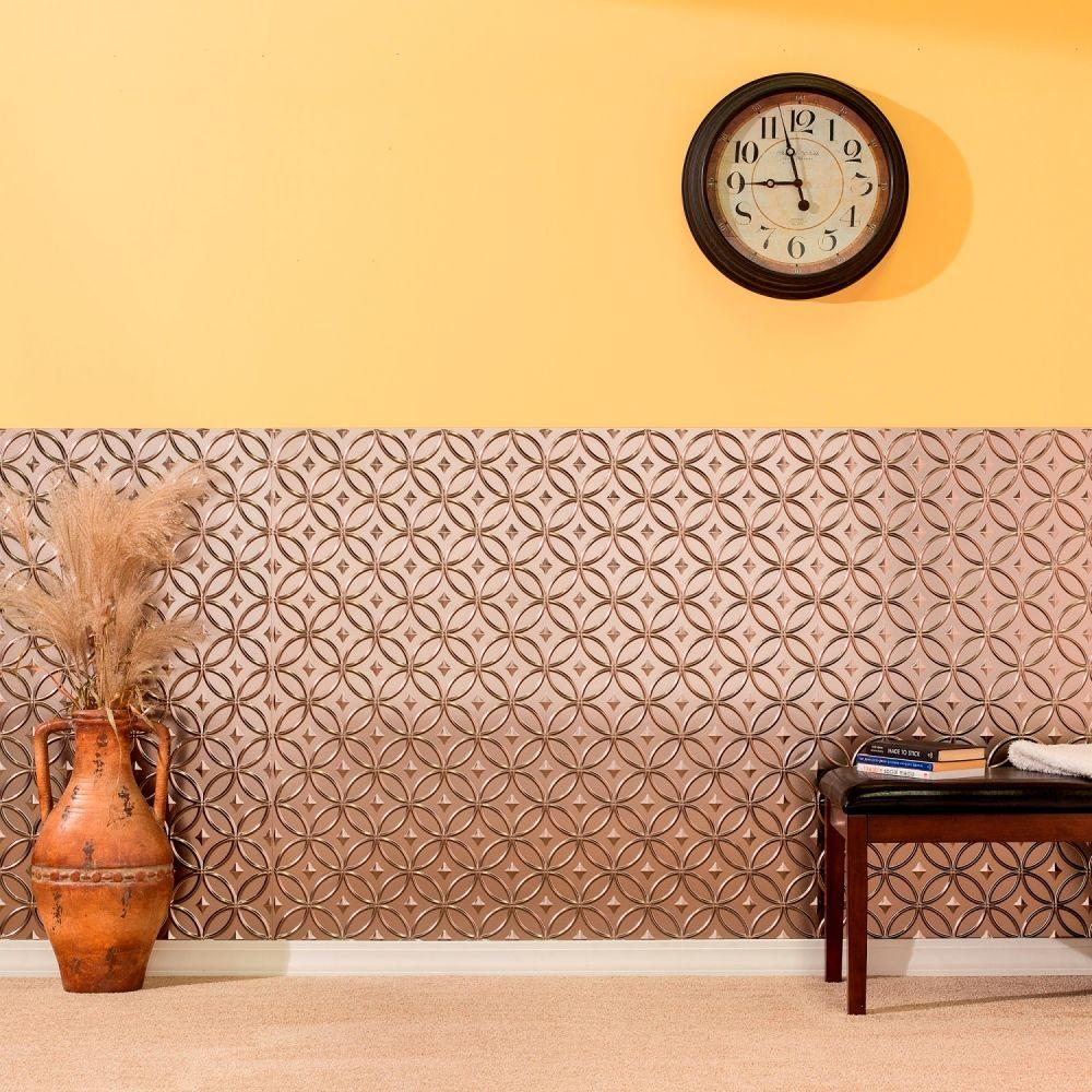 Fasade Rings 96 in. x 48 in. Decorative Wall Panel in Muted Gold-S82 ...