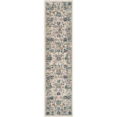 Carmel Beige/Blue 2 ft. x 8 ft. Runner Rug
