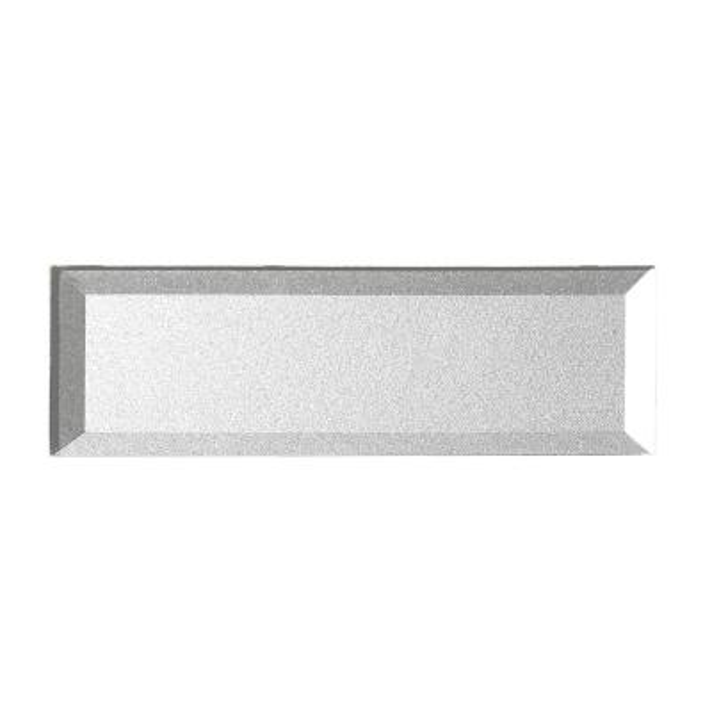 "Subway 3"" x 12"" Handmade Metallic Silver Beveled Glossy Glass Peel & Stick Decorative Bathroom Wall Tile Backsplash(4Pk)"