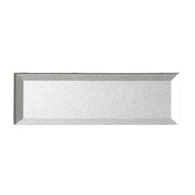 Secret Dimensions 3 in. x 12 in. Silver Glass Beveled 3D Peel and Stick Decorative Wall Tile Backsplash (4-Pack)