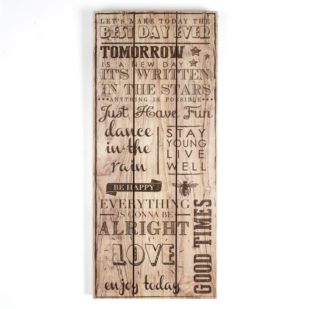 """28 in. x 12 in. """"Best Day Ever"""" Wooden Wall Art"""
