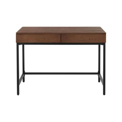 Donnelly Black Metal and Haze Wood Finish Writing Desk with 2 Drawers (42 in. W x 30 in. H)