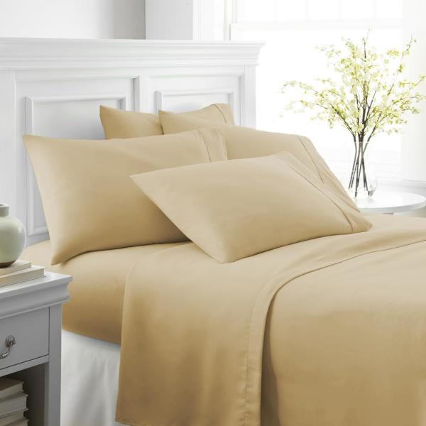 Becky Cameron Performance Gold Twin 6-Piece Bed Sheet Set IEH-6PC-TWIN-GO