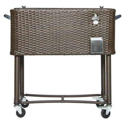 80 Qt. Wicker Patio Rolling Cooler Black/Brown