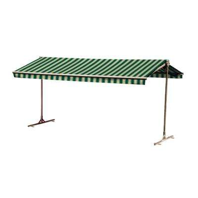 12 ft. Oasis Freestanding Motorized Retractable Awning (120 in. Projection) with Remote in Garden Green