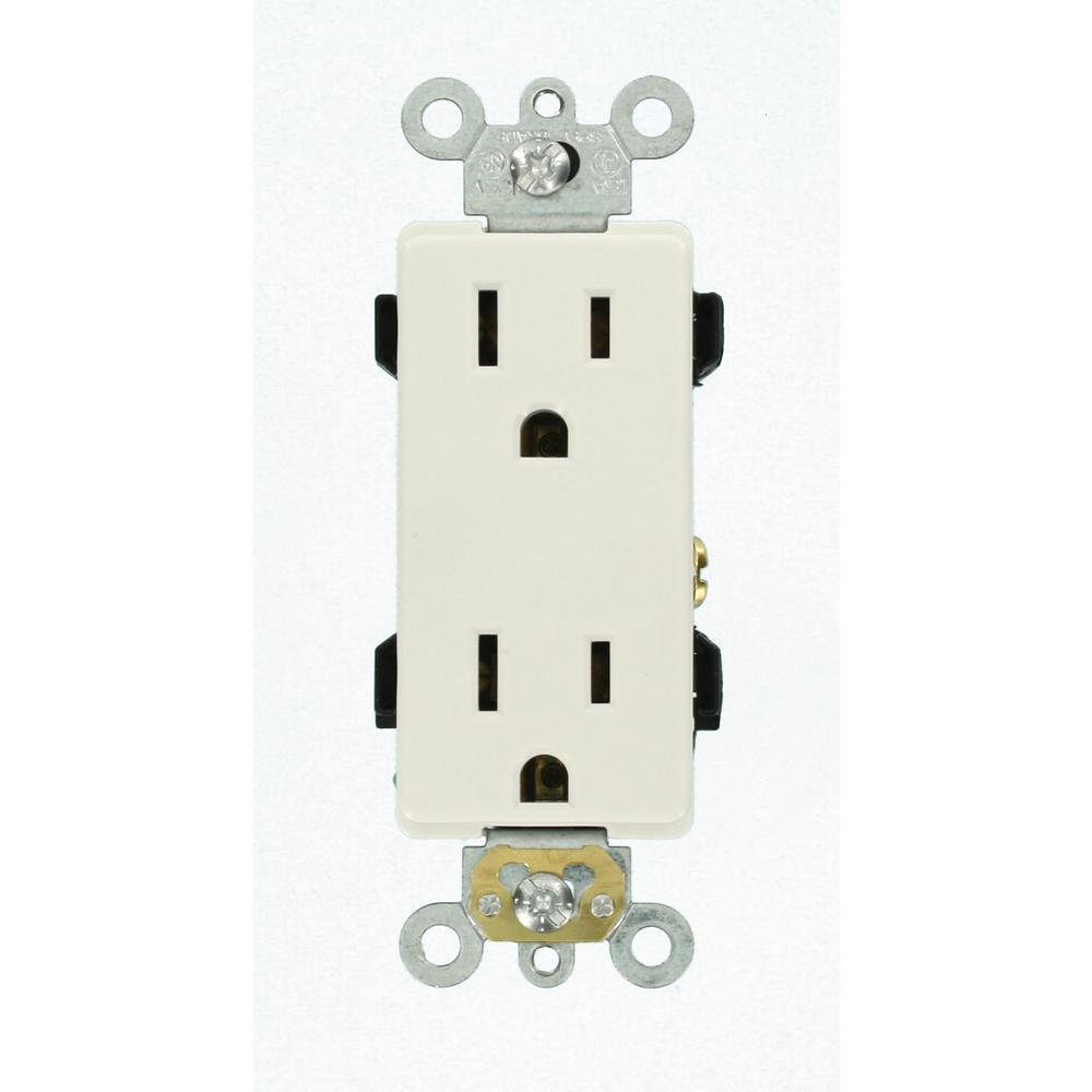 Decora Plus 15 Amp Industrial Grade Duplex Outlet, White