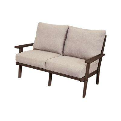 Grant Park Mahogany Deep Seating Plastic Outdoor Loveseat with Wheat Cushions