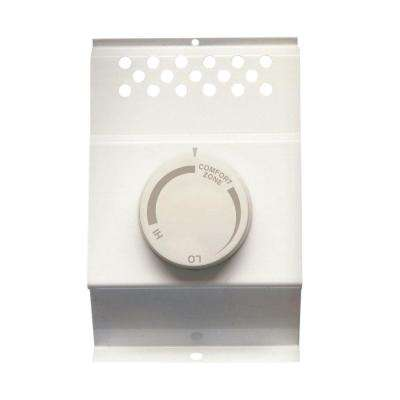 Single-Pole Electric Baseboard-Mount Mechanical Thermostat in White
