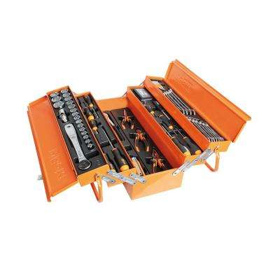 "1/2"" Drive Metric Socket Set with Ratchet, Screwdrivers, wrenches and General Maintenance Tools in Tool Box 91-Piece"