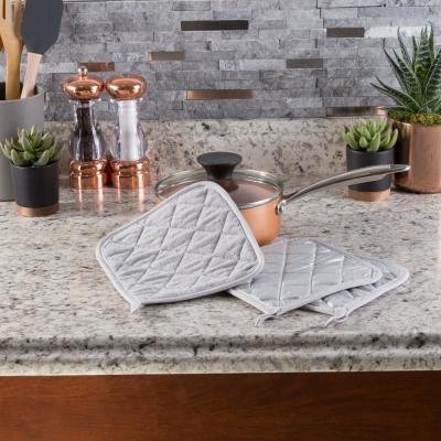 Quilted Cotton Silver Heat Resistant Pot Holder Set (3-Pack)