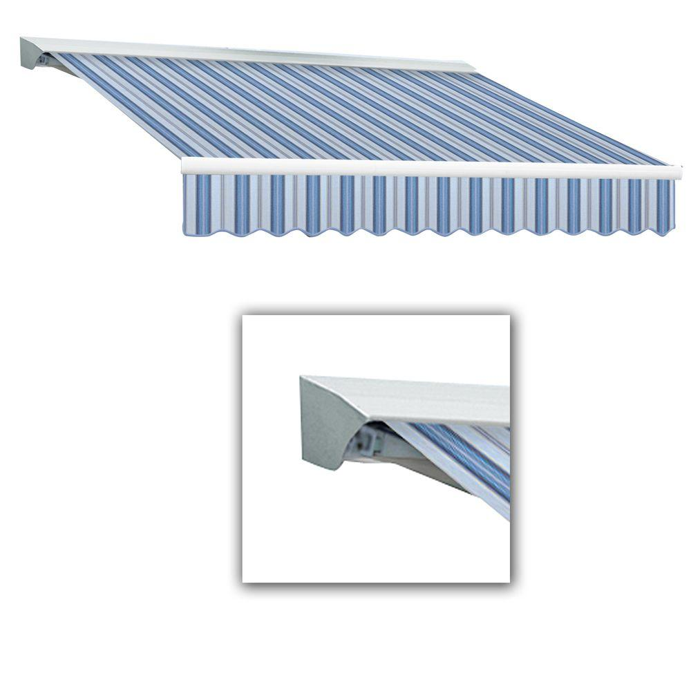 AWNTECH 8 ft. Destin-LX Manual Retractable Acrylic Awning with Hood (84 in. Projection) in Blue Multi