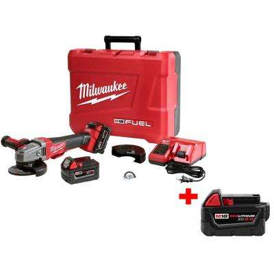 M18 FUEL 18-Volt Lithium-Ion Brushless 4-1/2 in./5 in. Braking Grinder Kit with M18 18-Volt 5.0Ah Lithium-Ion Battery