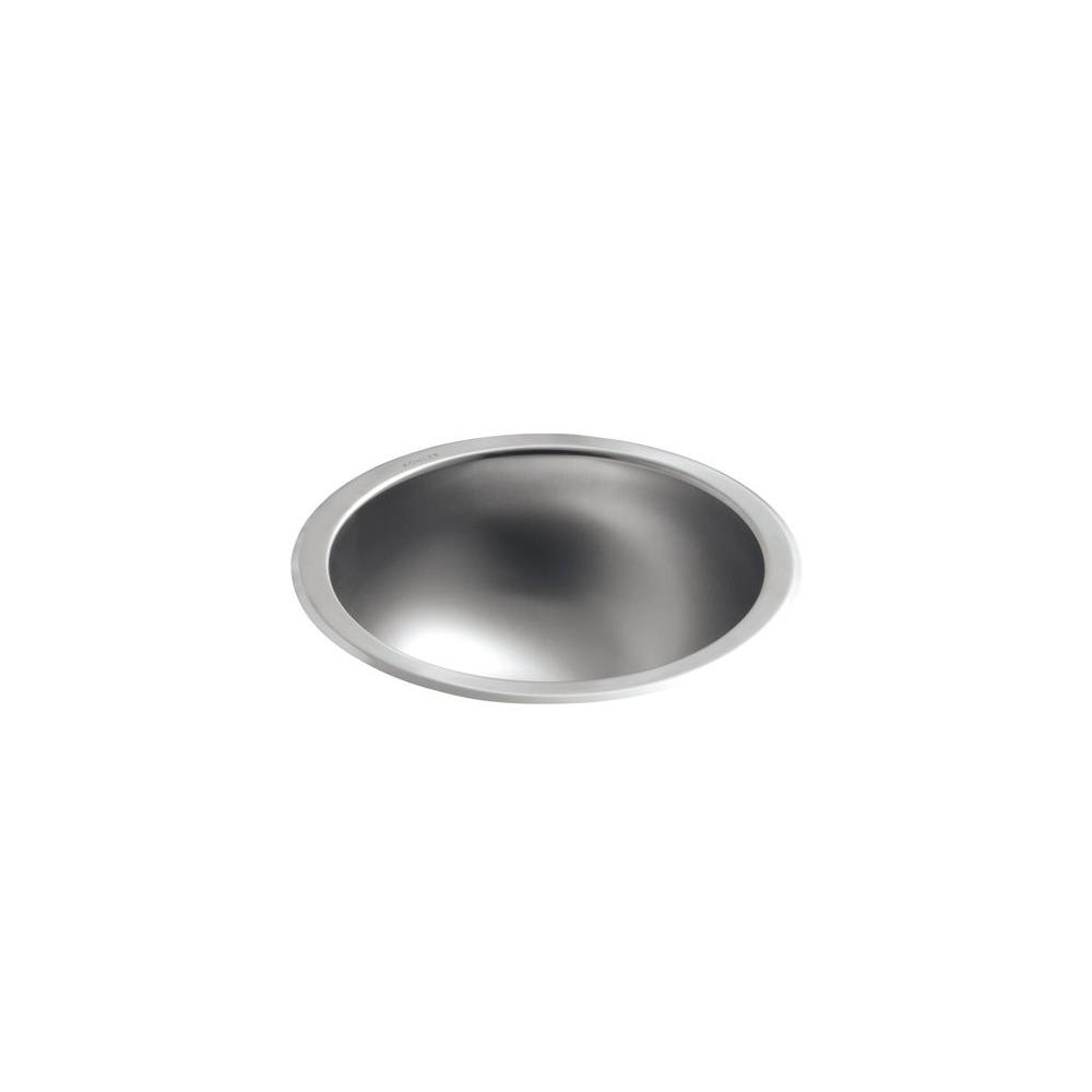 Kohler Bolero Round Drop In Or Undermount Stainless Steal Bathroom Sink In Stainless Steel K 2610 Su Na The Home Depot