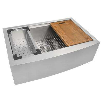 Apron-Front Stainless Steel 33 in. 16-Gauge Workstation Single Bowl Farmhouse Kitchen Sink