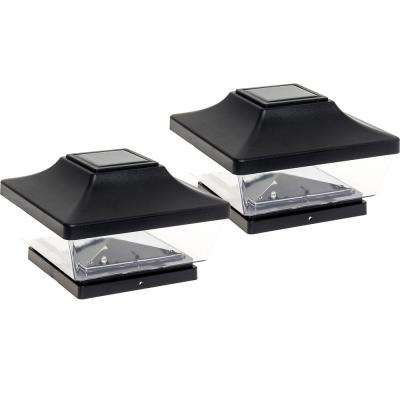 5 in. x 5 in. Solar Powered Integrated LED Black Plastic Post Cap Light with 5 in. and 6 in. PVC Post Adapter (2-Pack)