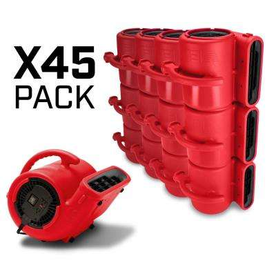 1/3 HP Air Mover for Water Damage Restoration Carpet Dryer Janitorial Floor Blower Fan, Red (45-Pack)