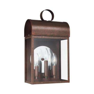 Conroe 3-Light Weathered Copper Outdoor 16.625 in. Wall Lantern Sconce with Dimmable Candelabra LED Bulb