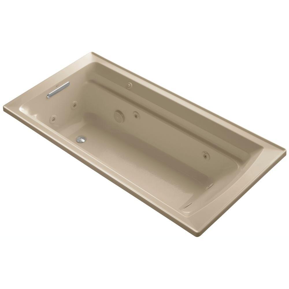 KOHLER Archer 6 ft. Acrylic Rectangular Drop-in Whirlpool Bathtub in Mexican Sand
