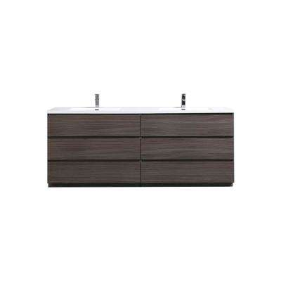 Angeles 84 in. W Vanity in Dark Gray Oak with Reinforced Acrylic Vanity Top in White with White Basin