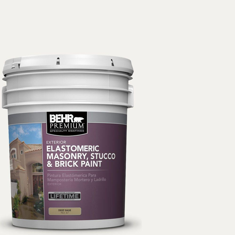 BEHR Premium 5 gal. #MS-39 Crystal White Elastomeric Masonry, Stucco and Brick Exterior Paint