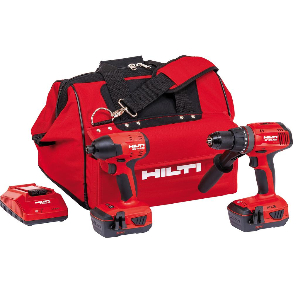 22-Volt Lithium-Ion Keyless Chuck Cordless Hammer Drill Driver/Brushless Impact Driver Combo Kit (batteries included)