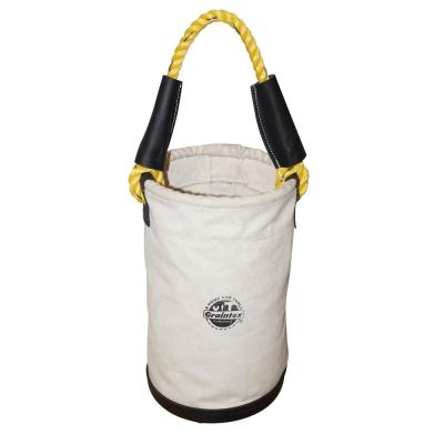 10 in. Canvas Utility Tool Bucket with Plastic Bottom and Rope Handle in White