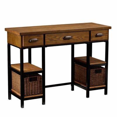 42 in. Natural Brown Rectangular 3 -Drawer Writing Desk with Keyboard Tray