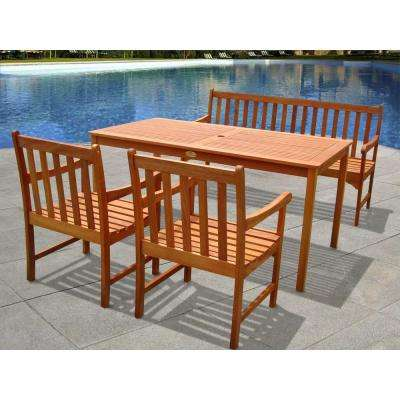 English Garden Eucalyptus 4-Piece Patio Dining Set