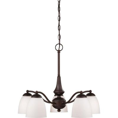 5-Light Prairie Bronze Arms Down Chandelier with Frosted Glass Shade