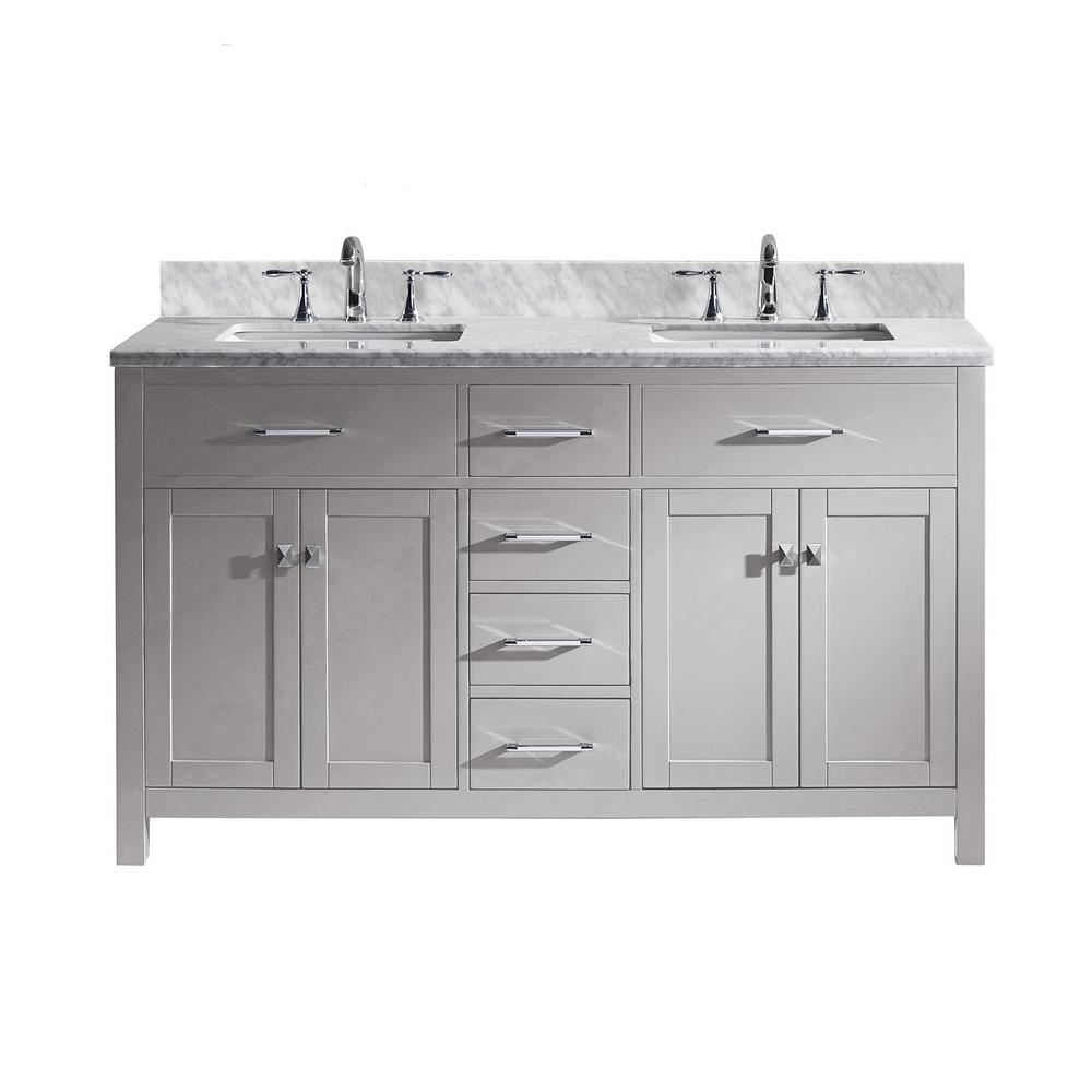 Virtu USA Caroline 60 in. W Bath Vanity in Cashmere Gray with Marble Vanity Top in White with Square Basin