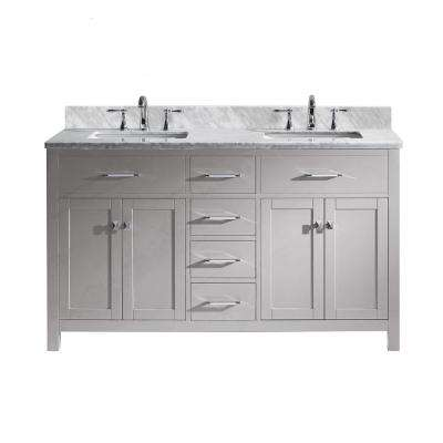 Caroline 60 in. W Bath Vanity in Cashmere Gray with Marble Vanity Top in White with Square Basin