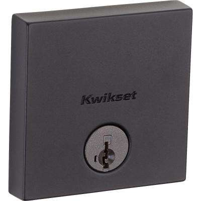 Downtown Low Profile Square Contemporary Iron Black Single Cylinder Deadbolt Featuring SmartKey Security