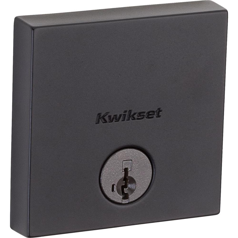 Downtown Low Profile Single Cylinder Iron Black Square Contemporary Deadbolt
