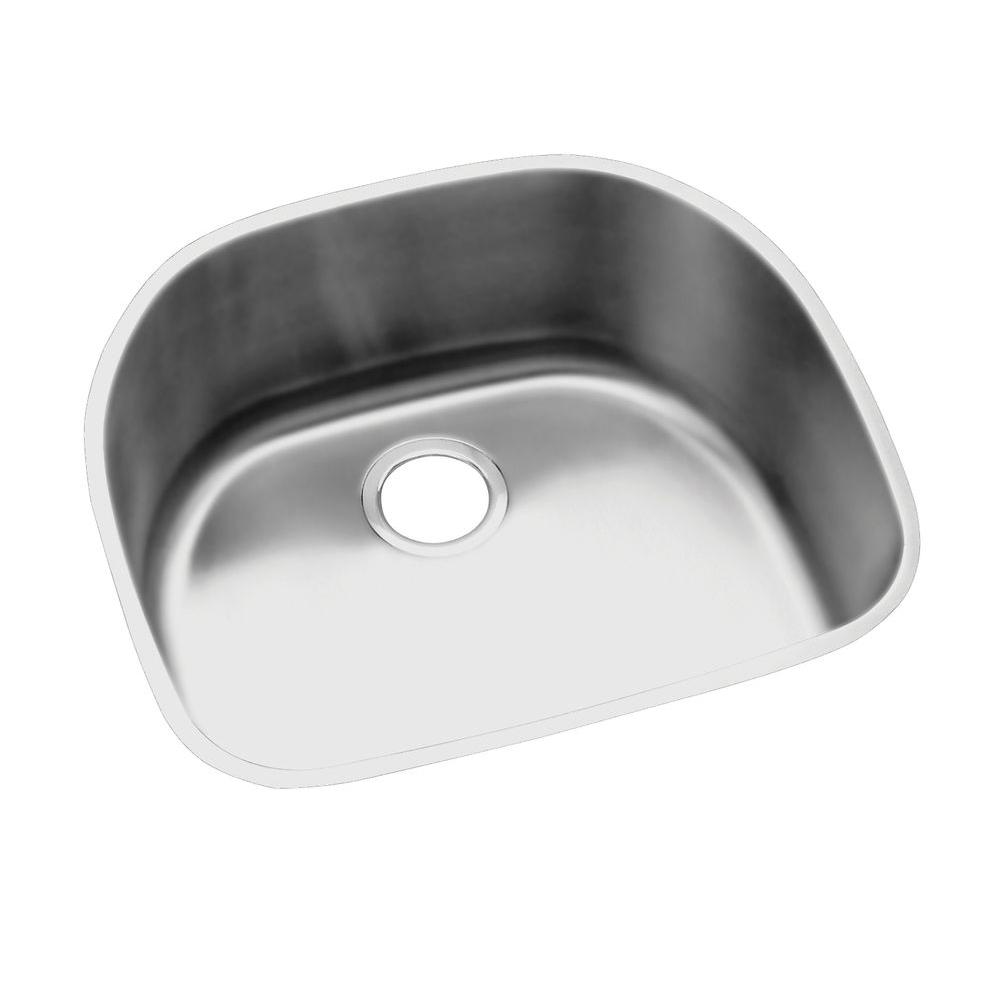 Elkay Lustertone Undermount Stainless Steel 24 in. Rounded Single ...