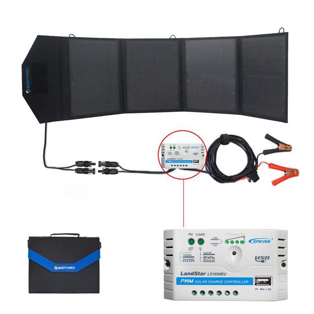 50-Watt Foldable Suitcase OffGrid Solar Panel Kit Suitcase