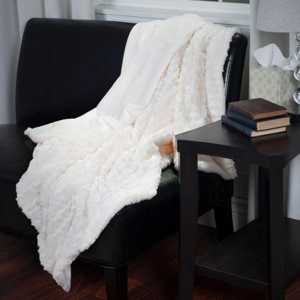Lavish Home Cream Plush Croc Embossed Faux Fur Mink Throw