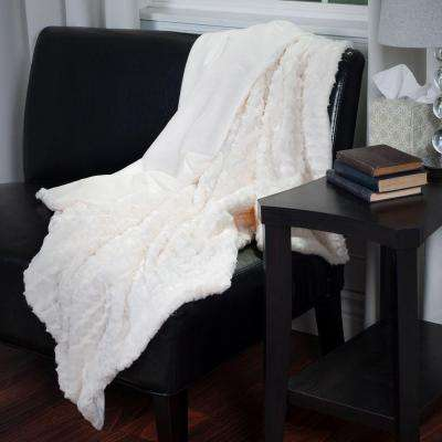 Cream Plush Croc Embossed Faux Fur Mink Throw
