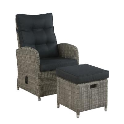 Monaco 2-Piece All-Weather Wicker Outdoor Recliner and Ottoman with Gray Cushions
