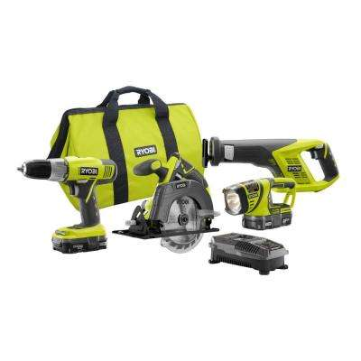 18-Volt ONE+ Lithium-Ion Cordless 4-Tool Super Combo Kit with (2) 1.3 Ah Batteries, Dual Chemistry Charger, and Tool Bag