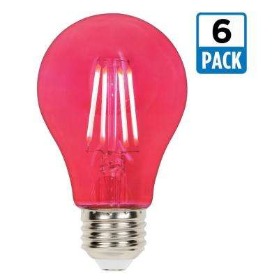 40-Watt Equivalent A19 Dimmable Pink Filament LED Light Bulb (6-Pack)