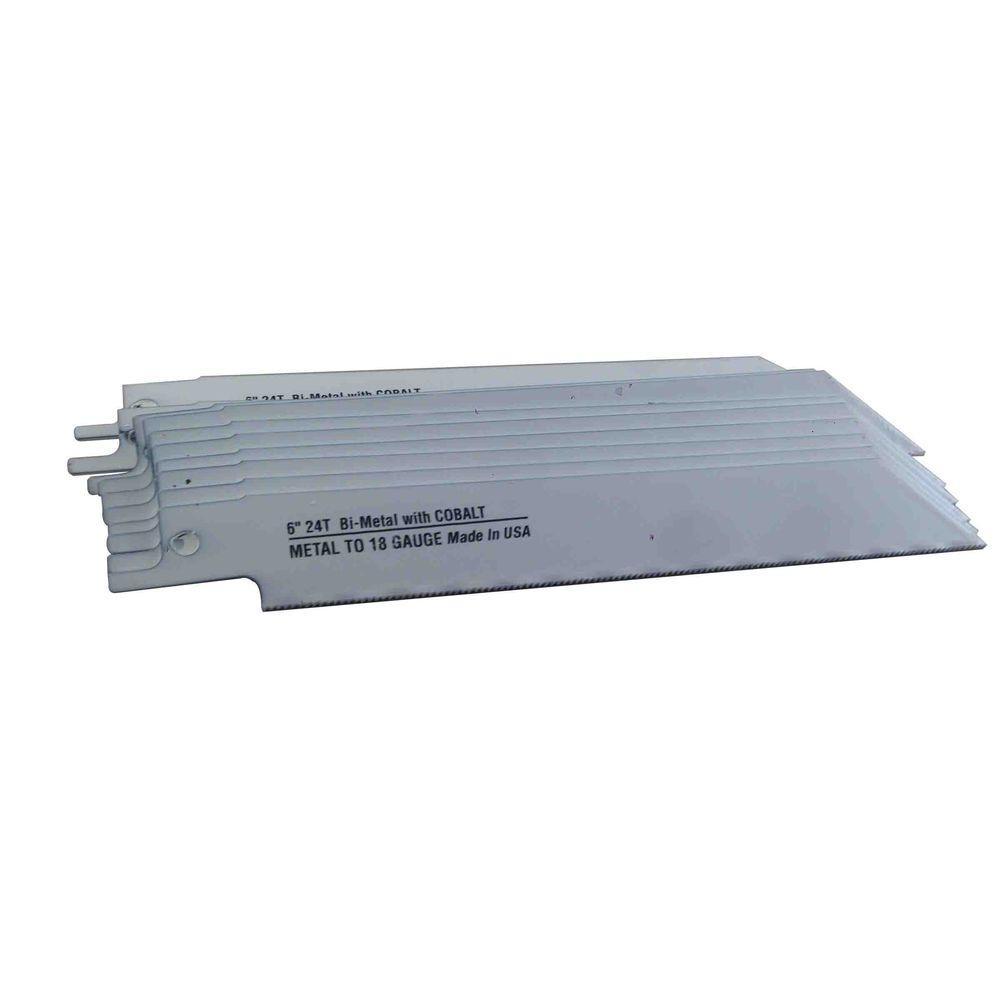 6 in. x 3/4 in. x 0.035 in. 24 Teeth per in. Metal Cutting Bi-Metal Reciprocating Saw Blade (10-Pack)