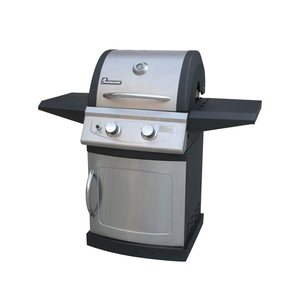 landmann falcon series 2 burner propane gas grill in black and stainless steel 42202 the home. Black Bedroom Furniture Sets. Home Design Ideas