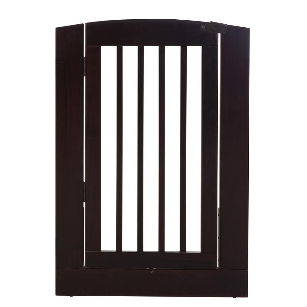 Ruffluv 36 in. H Wood Freestanding Single Panel Cappuccino Pet Gate