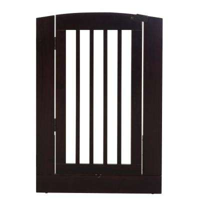 Ruffluv 36 in. H Wood Freestanding Single Panel Cappuccino Pet Gate with Door