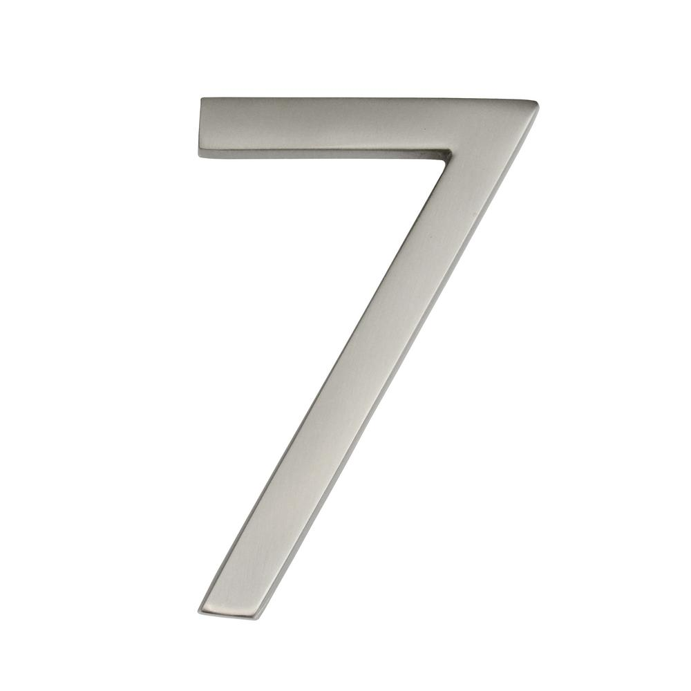 Architectural Mailboxes Frank Lloyd Wright Collection 4 in. Wright Satin Nickel Floating House Number 7