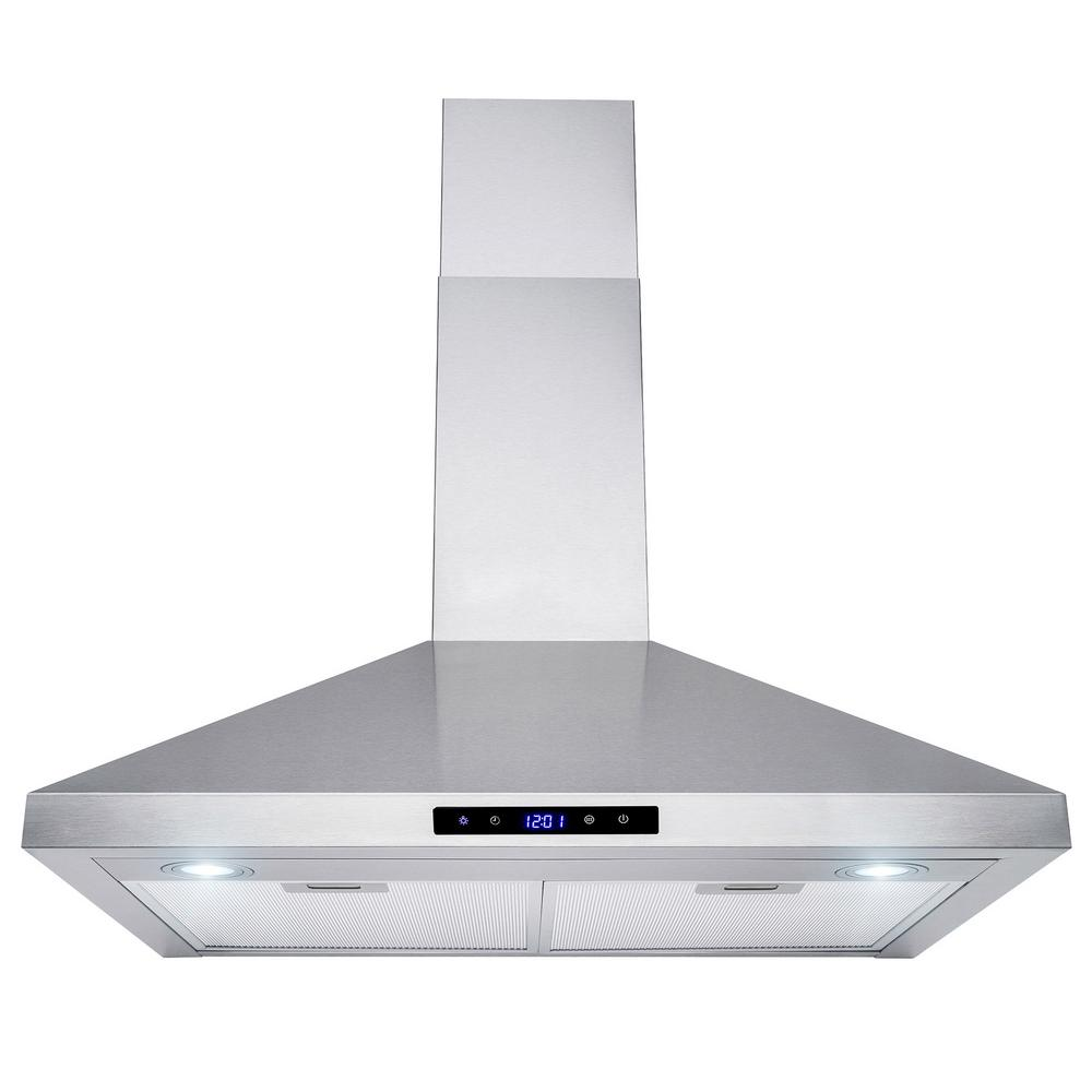 400 cfm convertible wall mount kitchen range hood in stainless steel with