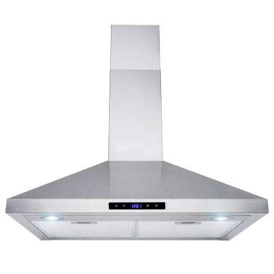 30 in. 400 CFM Convertible Wall Mount Kitchen Range Hood in Stainless Steel with Lights