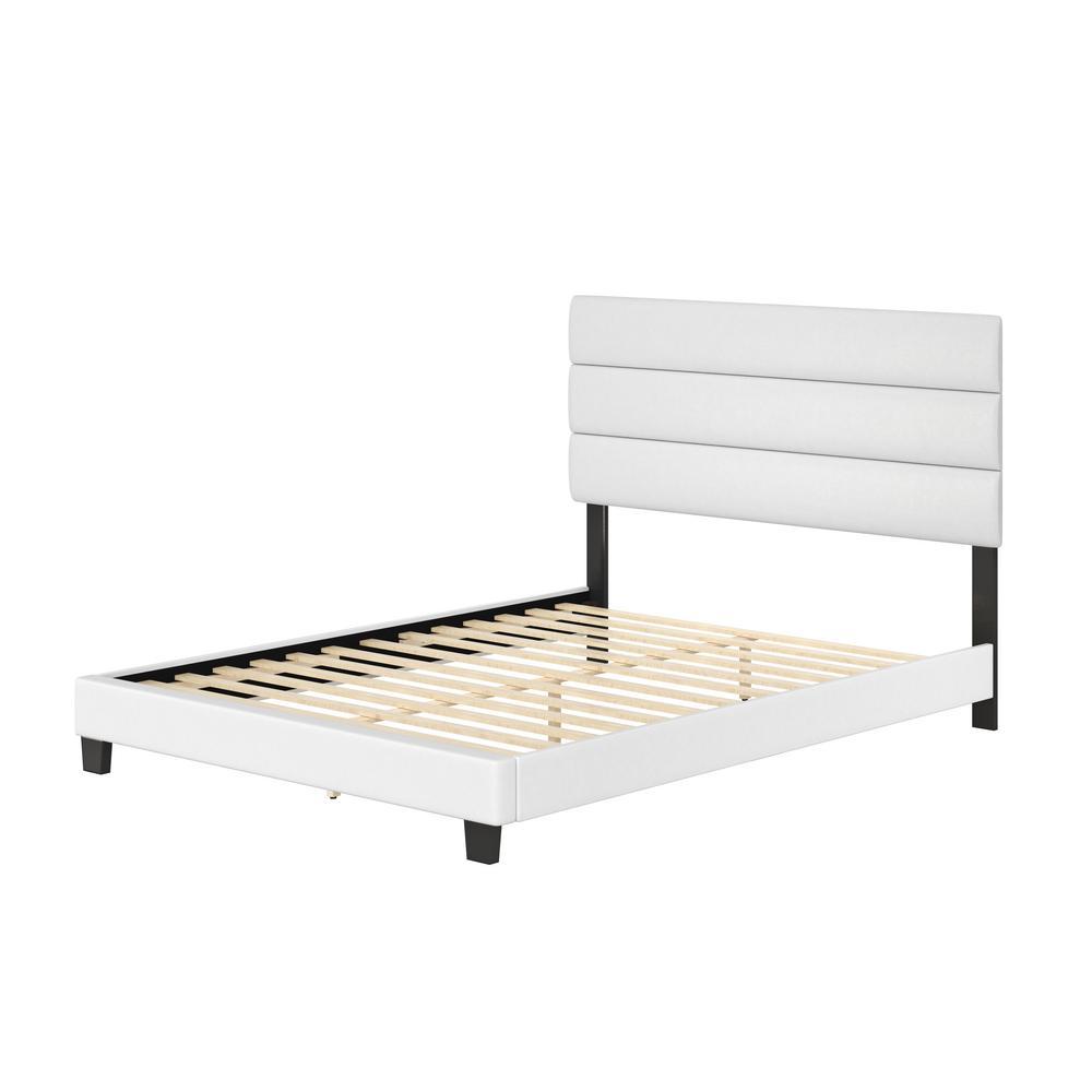 Luna White Faux Leather Upholstered Full Platform Bed Frame with Slat System